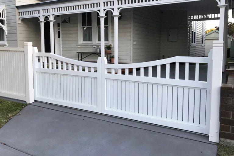 Residential White Swing Gate